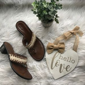 Cole Haan Macrame Brown Leather Thong Sandals 8B